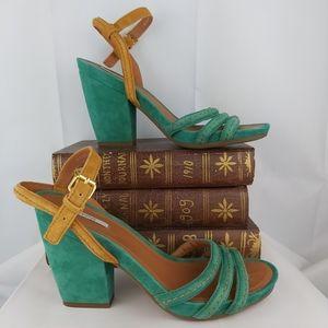 Geox Respira green suede heeled sandals size 38